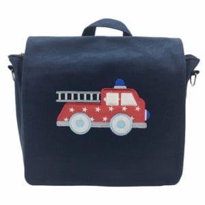Die Gräfin Kindergartenrucksack in Blau mit Motiv 'Feuerwehrauto' und Namen