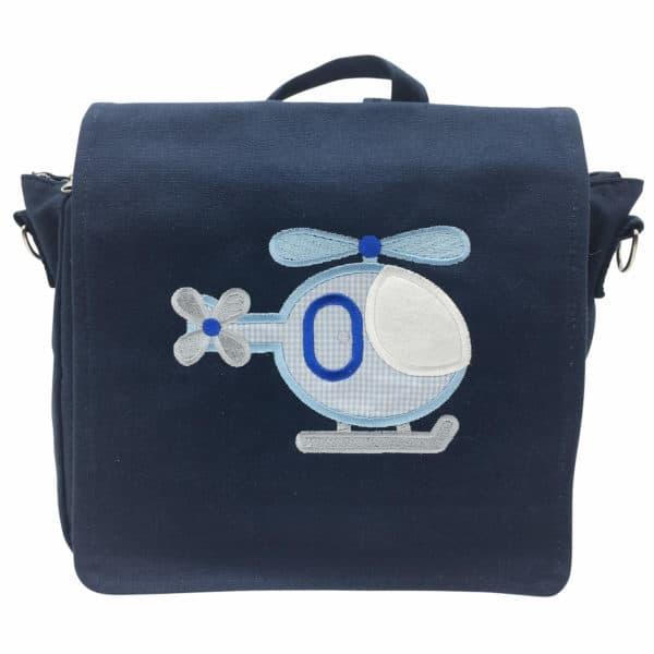 Die Gräfin Kindergartenrucksack in Blau mit Motiv 'Hubschrauber' und Namen