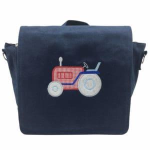 Die Gräfin Kindergartenrucksack in Blau mit Motiv 'Traktor' und Namen