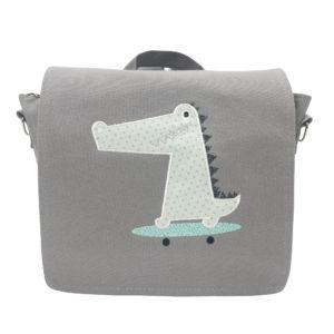 Die Gräfin Kindergartenrucksack in Grau mit Motiv 'Krokodil'