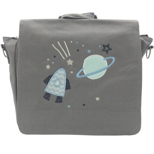 Die Gräfin Kindergartenrucksack in Grau mit Motiv 'Space'