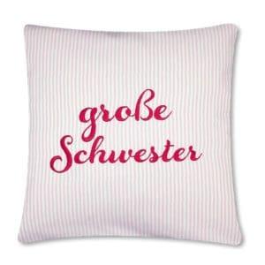 Geschenkidee: Die Gräfin Kissen für große Schwester, rosa-weiß liniert