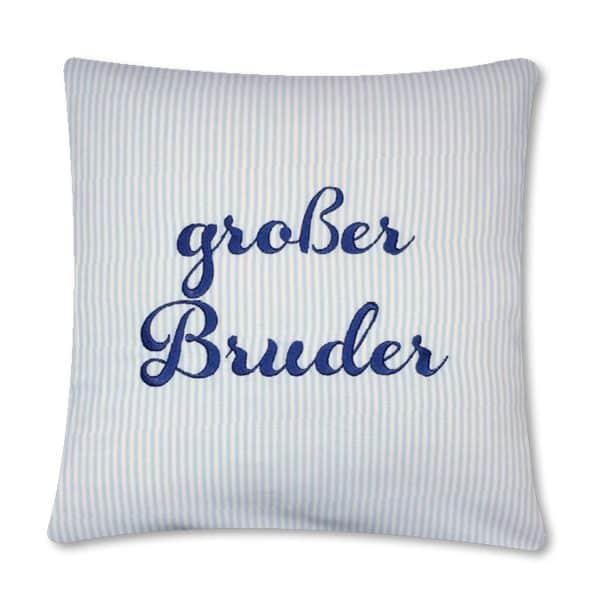 Geschenkidee: Die Gräfin Kissen für großen Bruder, blau-weiß liniert