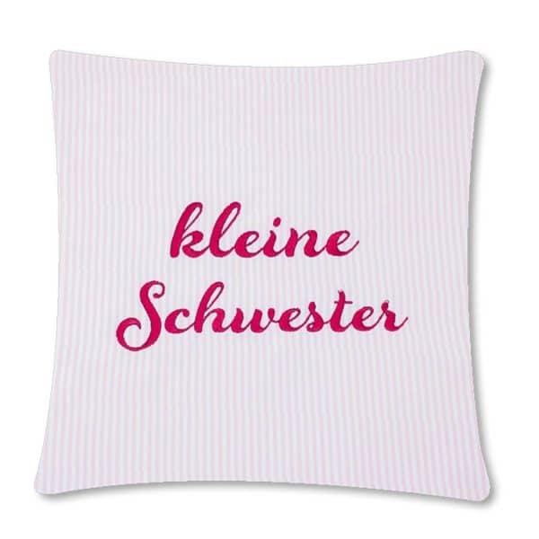 Die Gräfin Kissen für kleine Schwester, rosa-weiß liniert