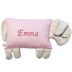 Die Gräfin Kissen mit Namen, Schafsform, weiß-rosa kariert