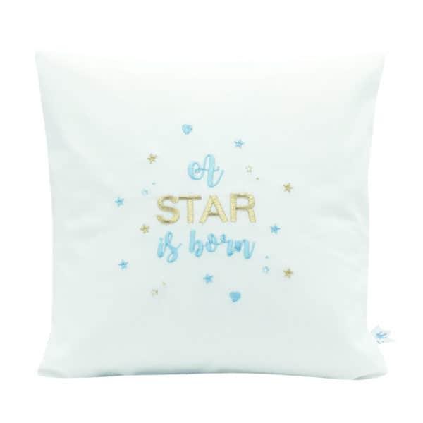 Die Gräfin Kissen für Kinder in Weiß mit dem Schriftzug 'A Star Is Born' in blauer Schrift
