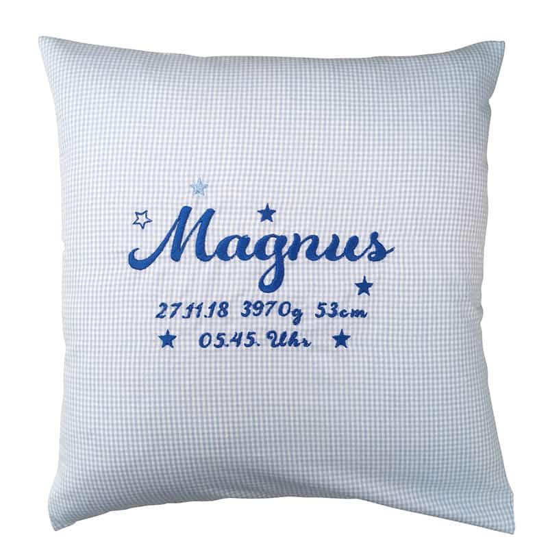 Die Gräfin 30x30 Geburtskissen, blau-weiß kariert mit Sternen