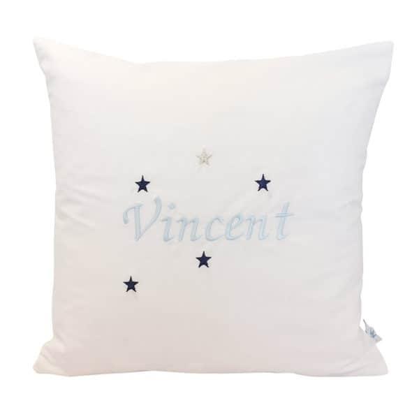 Die Gräfin Kissen mit Namen in Blau mit Sternen